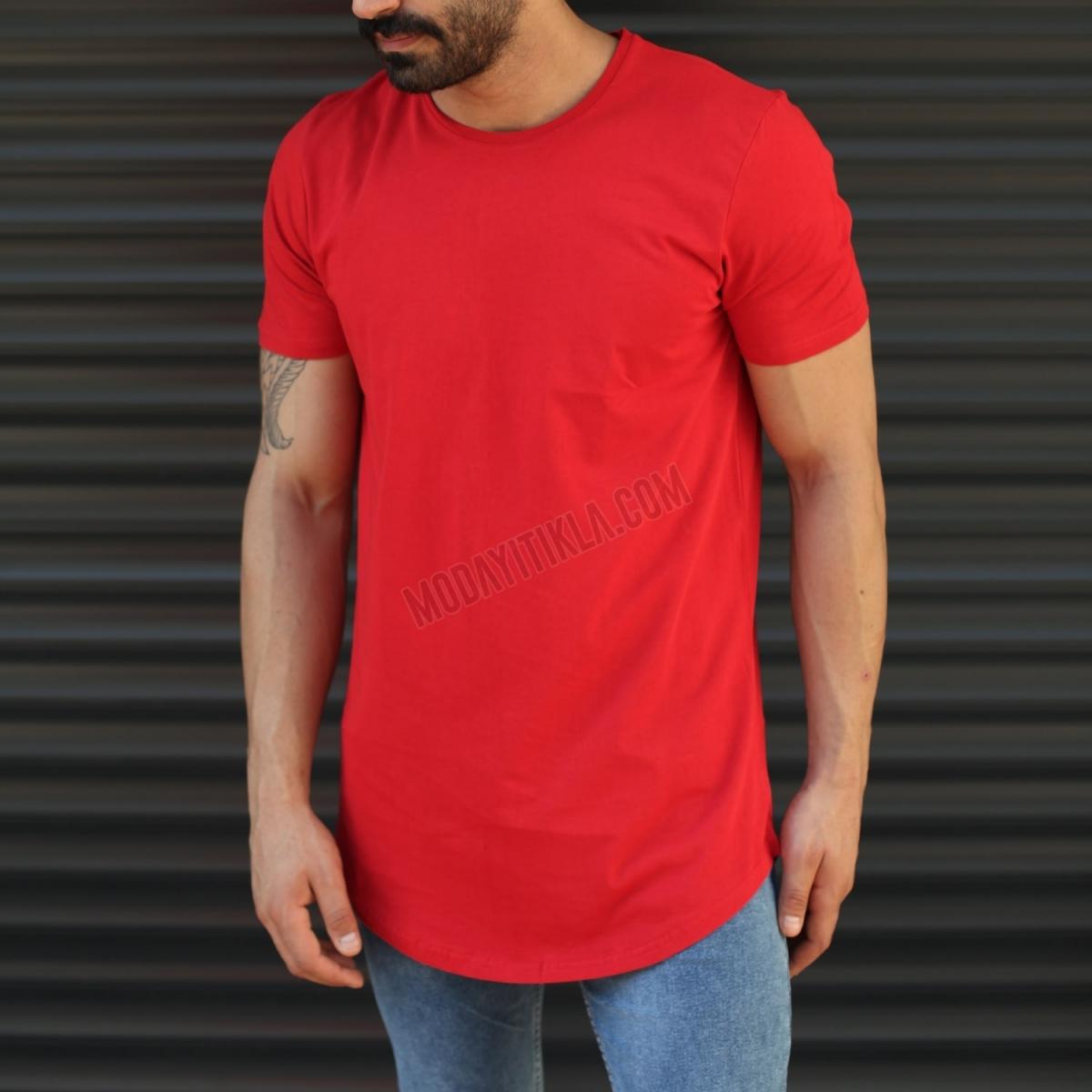 Erkek Sırtı Fermuarlı Longline Slim Fit Uzun Tişört Kırmızı