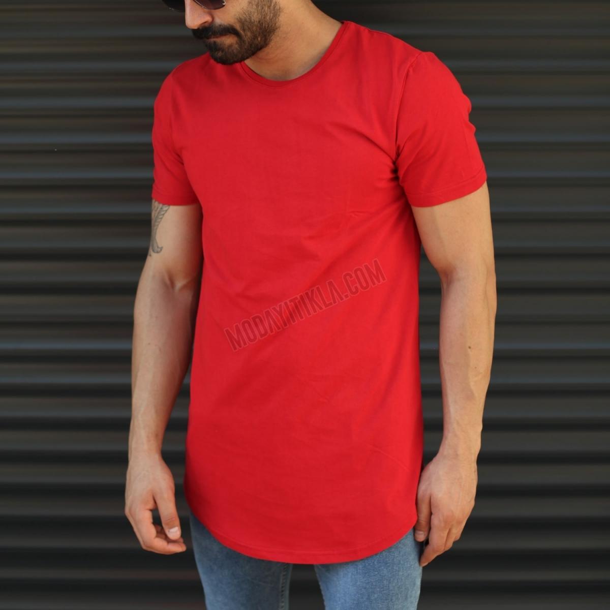 Erkek Slim Fit Yuvarlak Yaka Longline Uzun Tişört Kırmızı