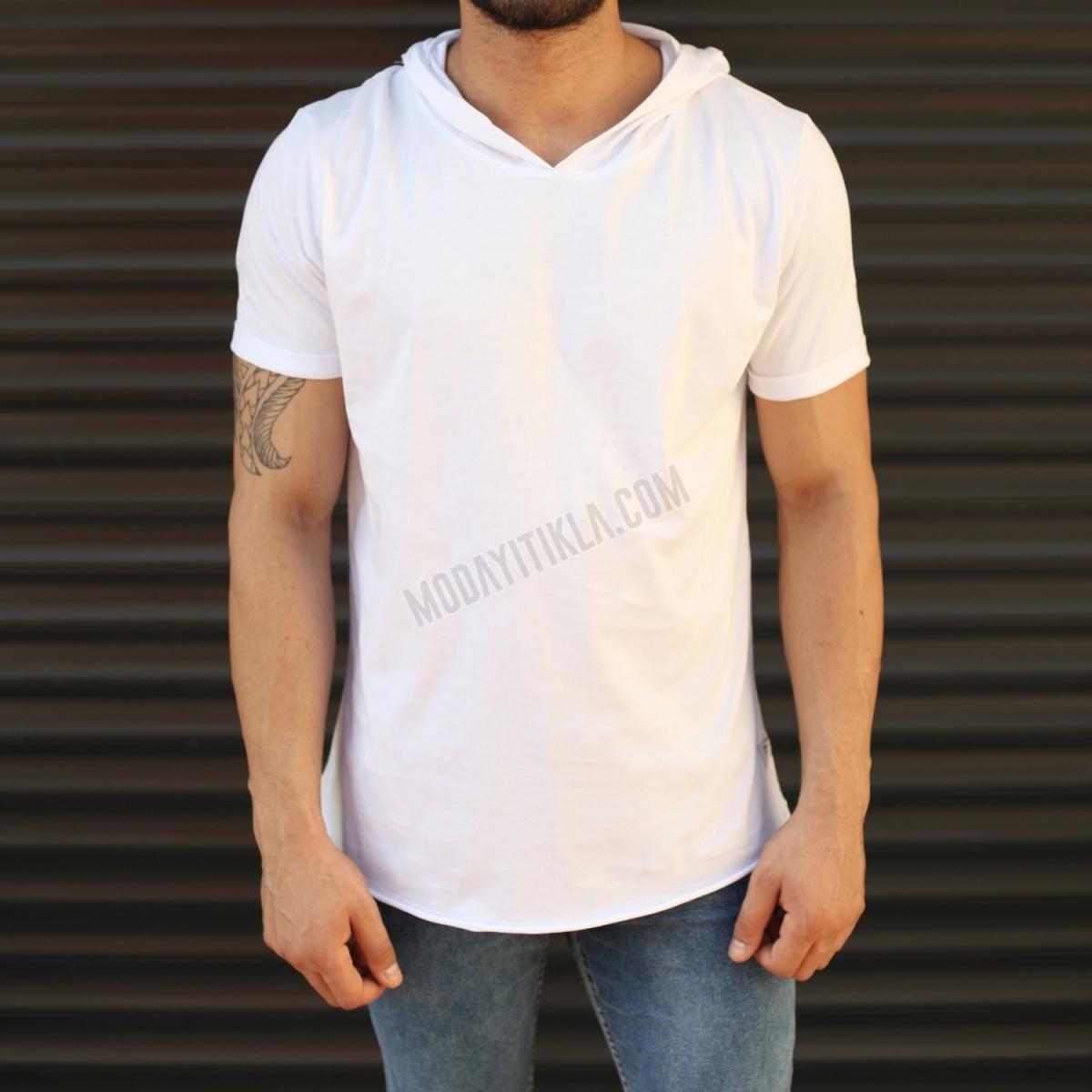 Erkek New Season Kapüşonlu Kısa Kollu Uzun Tişört Beyaz