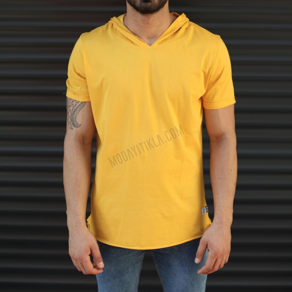Erkek New Season Kapüşonlu Kısa Kollu Uzun Tişört Sarı