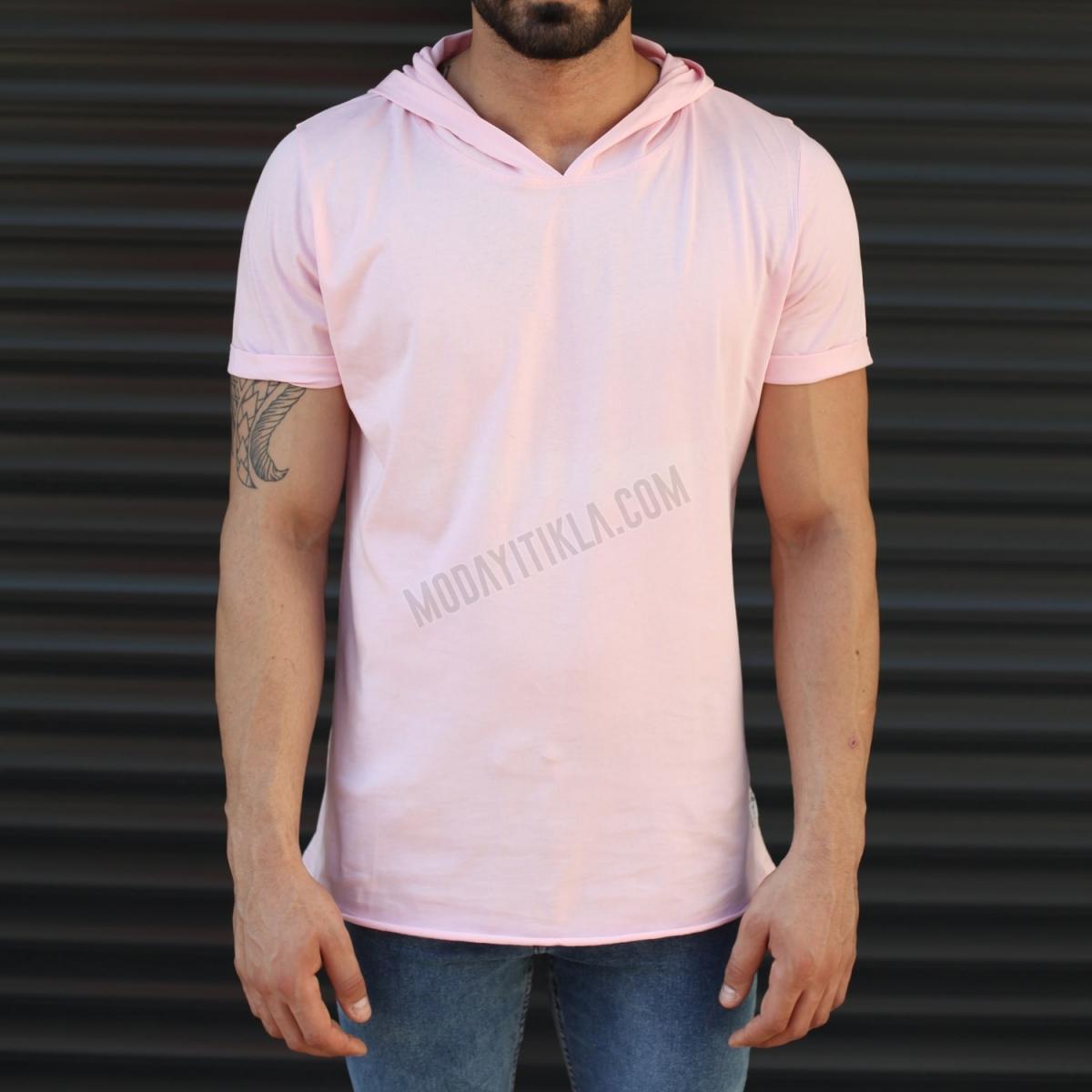 Erkek New Season Kapüşonlu Kısa Kollu Uzun Tişört Pembe