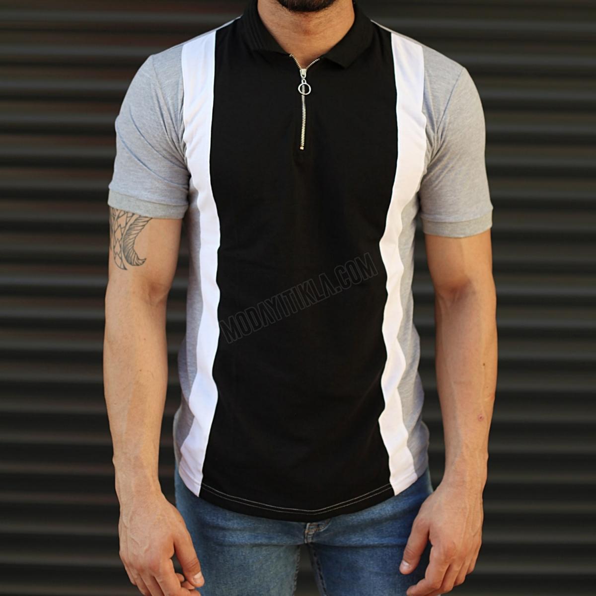 Erkek Triple Renk Slim Fit Polo Yaka Tişört Gri