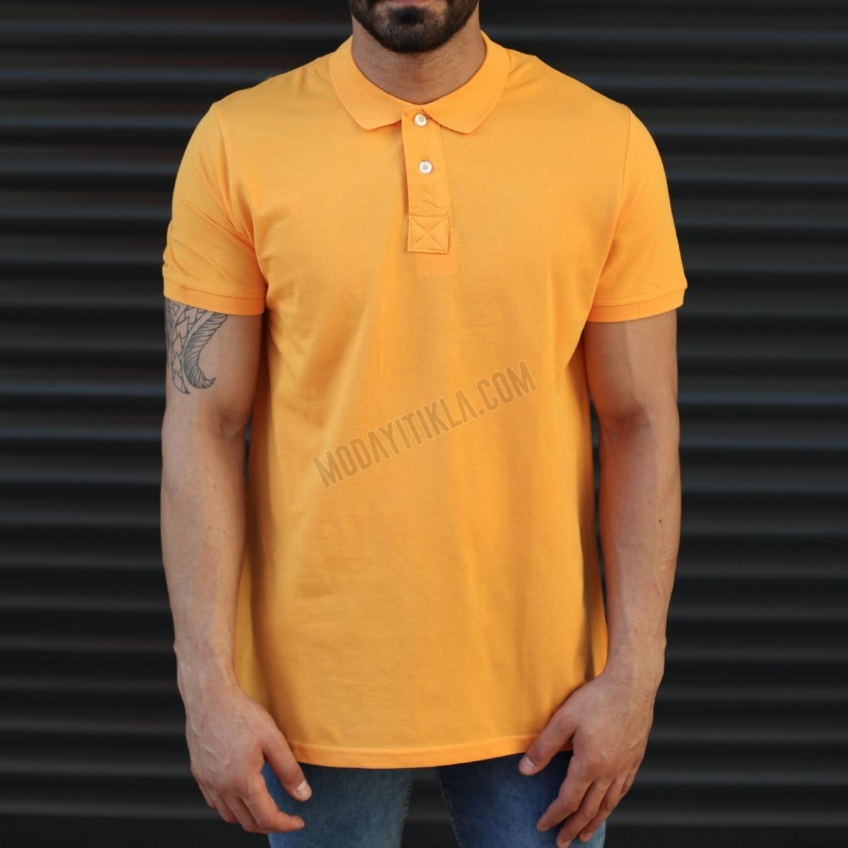 Erkek Basic Slim Fit Polo Yaka Uzun Tişört Turuncu