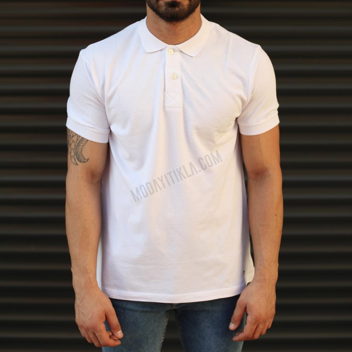 Erkek Basic Slim Fit Polo Yaka Tişört Beyaz