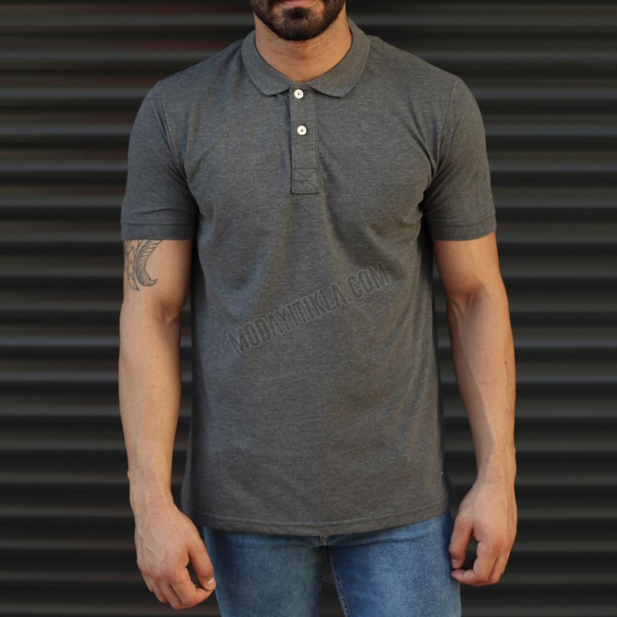 Erkek Basic Slim Fit Polo Yaka Tişört Koyu Gri