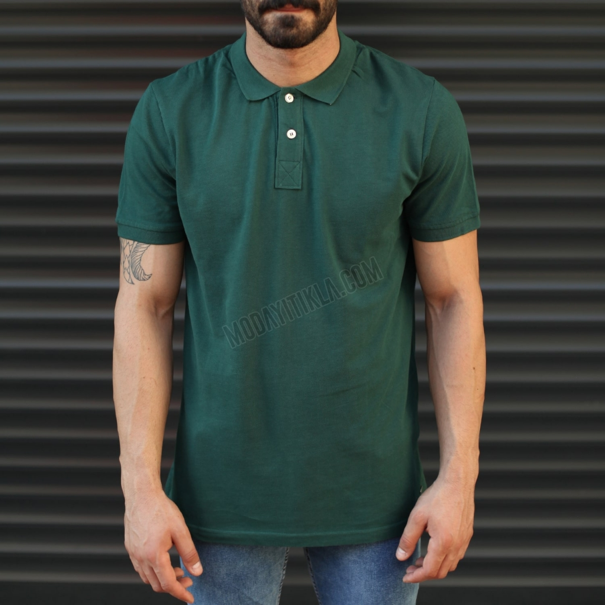 Erkek Basic Slim Fit Polo Yaka Tişört Yeşil