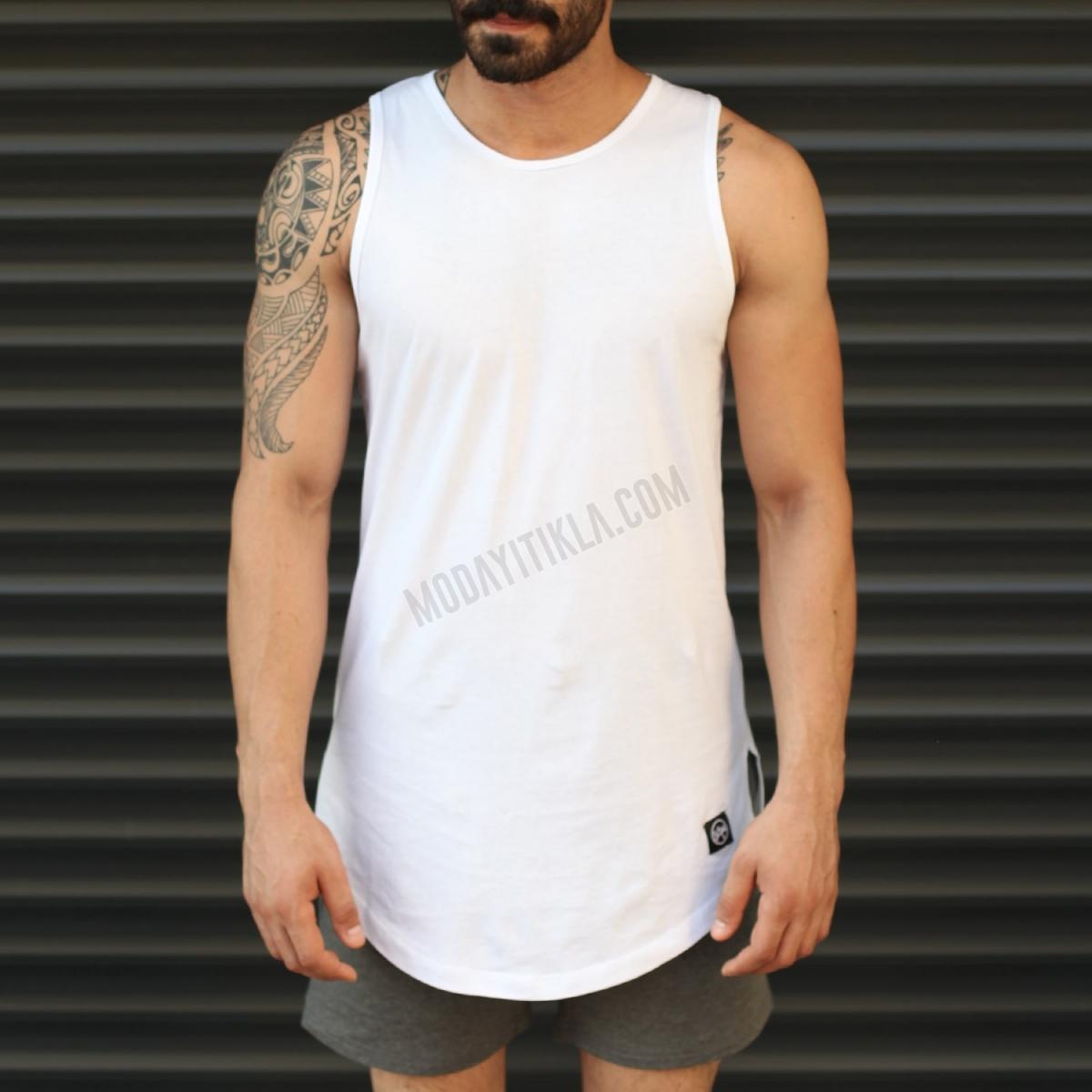 Erkek Gym Kolsuz Spor Uzun Atlet Tişört Beyaz