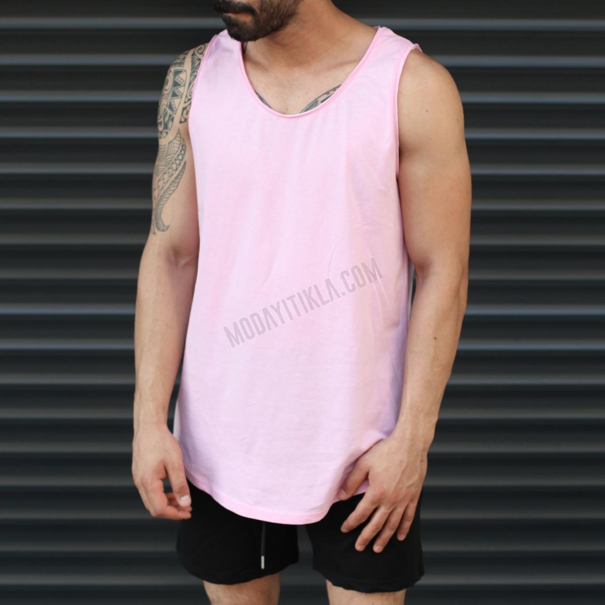 Erkek Gym Kolsuz Spor Uzun Basic Atlet Tişört Pembe