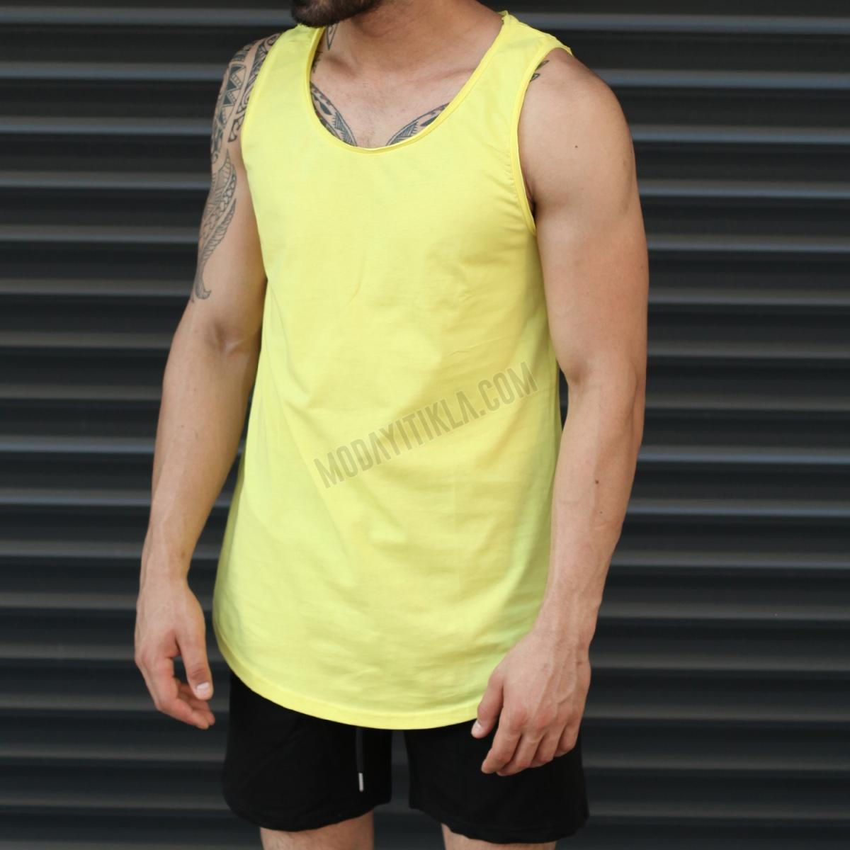 Erkek Gym Kolsuz Spor Uzun Basic Atlet Tişört Sarı