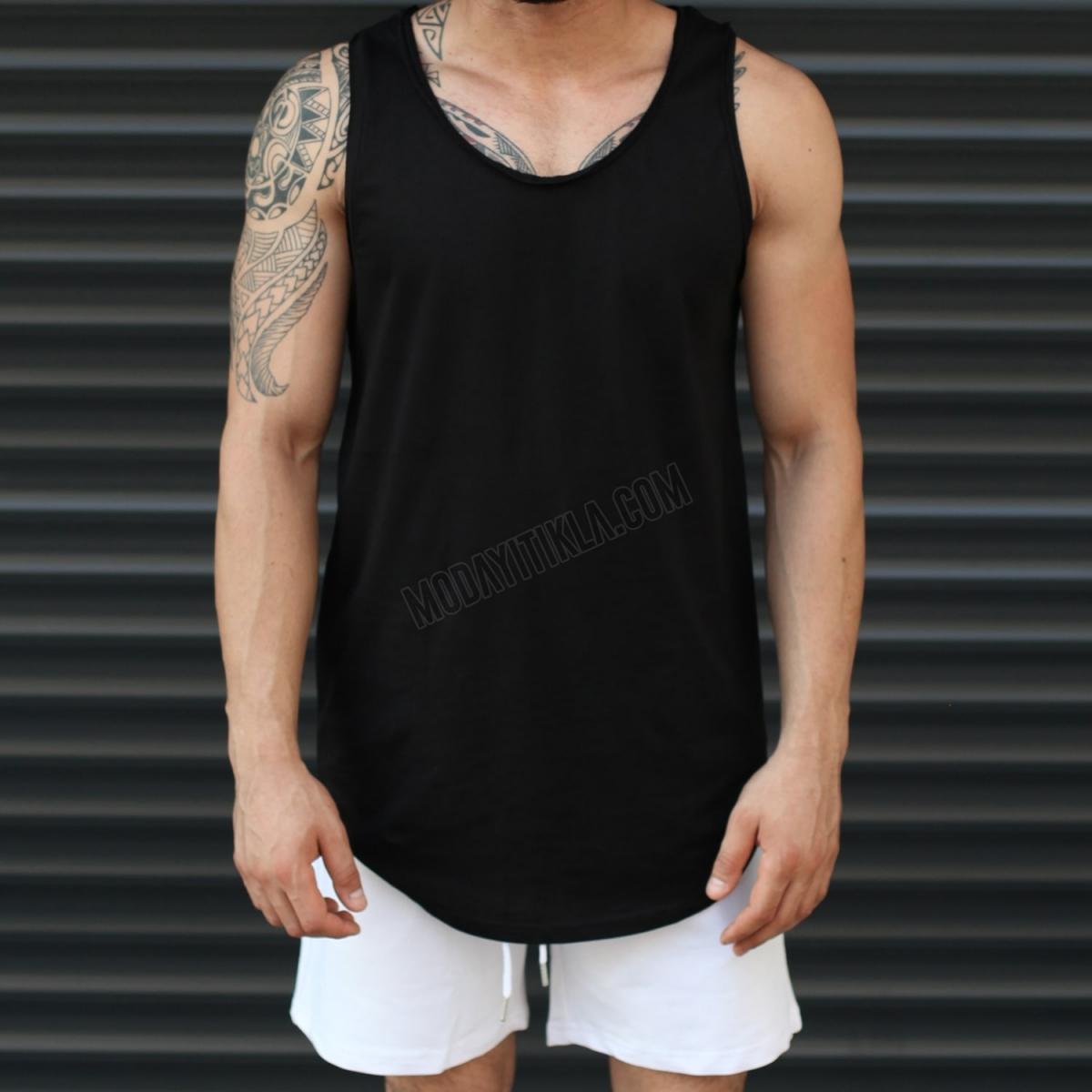 Erkek Gym Kolsuz Spor Uzun Basic Atlet Tişört Düz Siyah