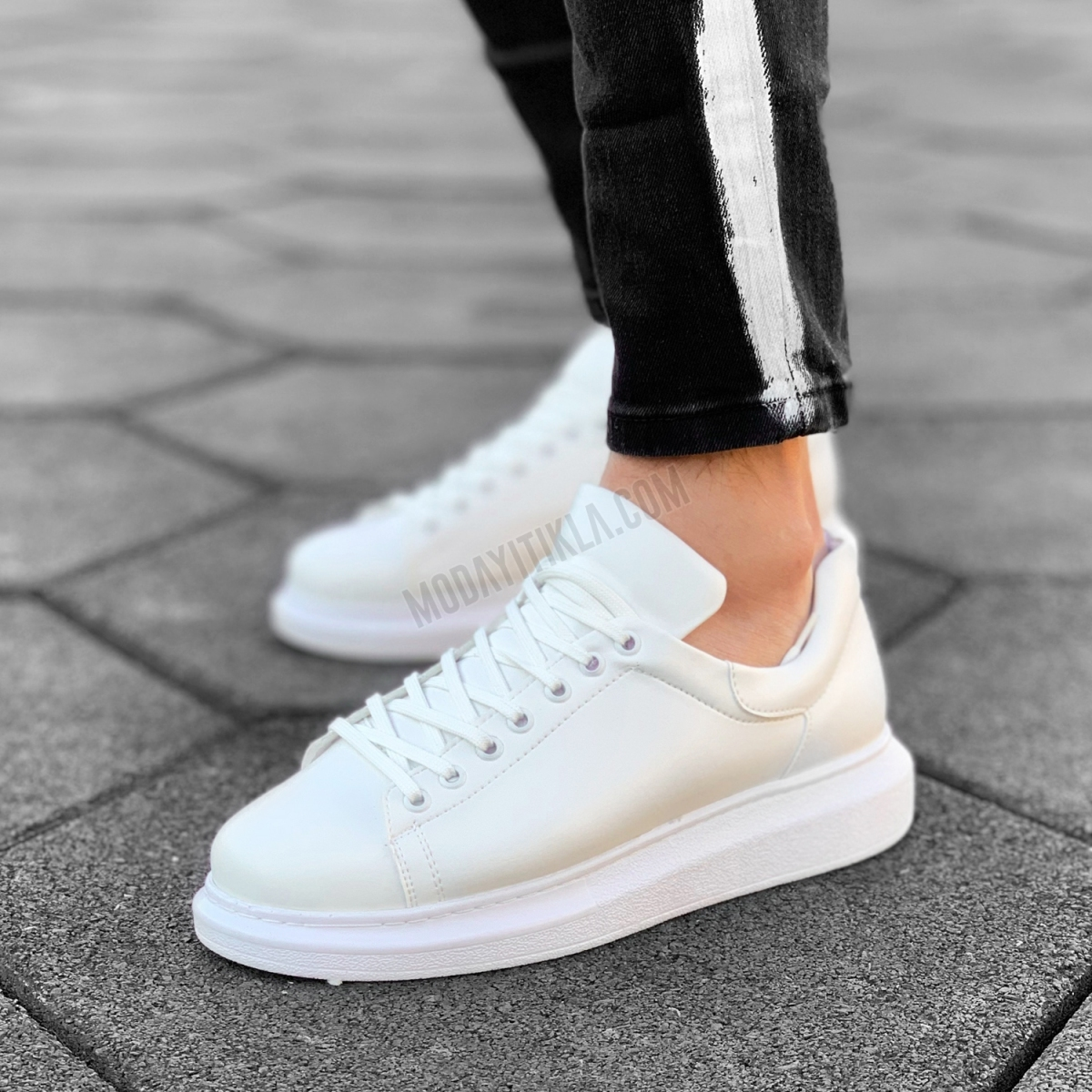 Erkek Yüksek Tabanlı Erkek Beyaz Sneaker Ayakkabı