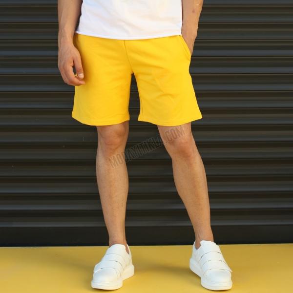 Erkek Sport Polar Sarı Şort